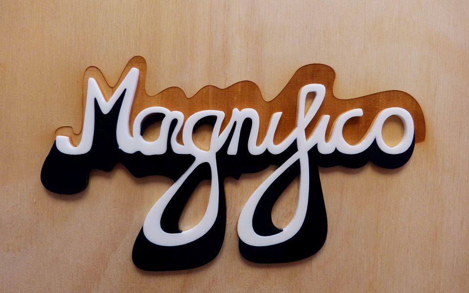 magnifico lettering laser cut