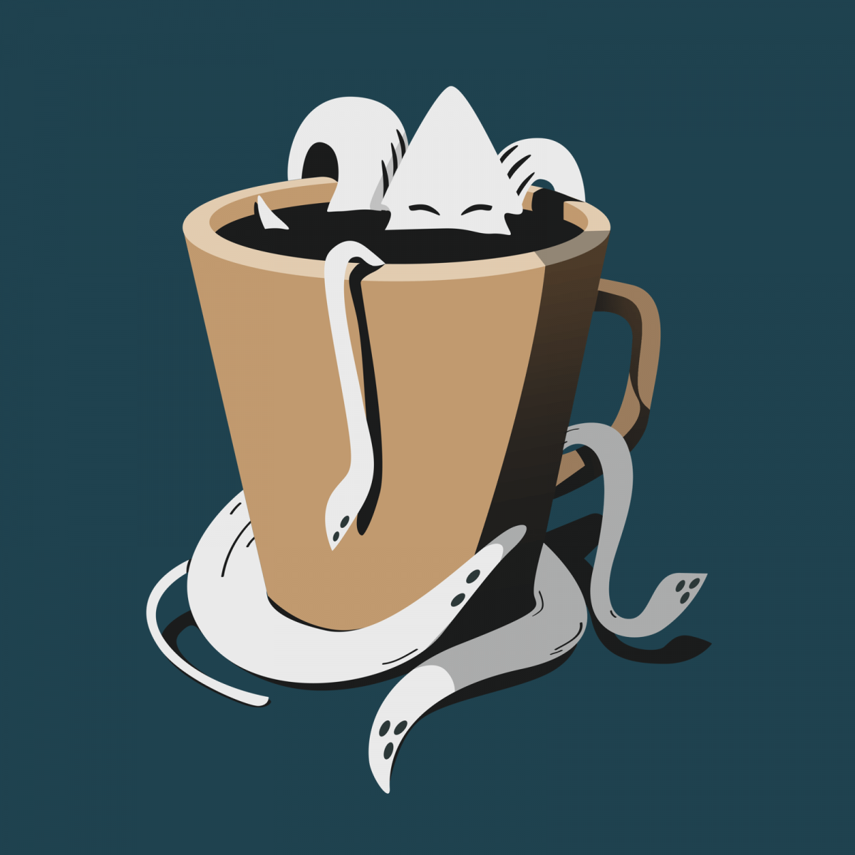 illustrated squid in a coffee cup